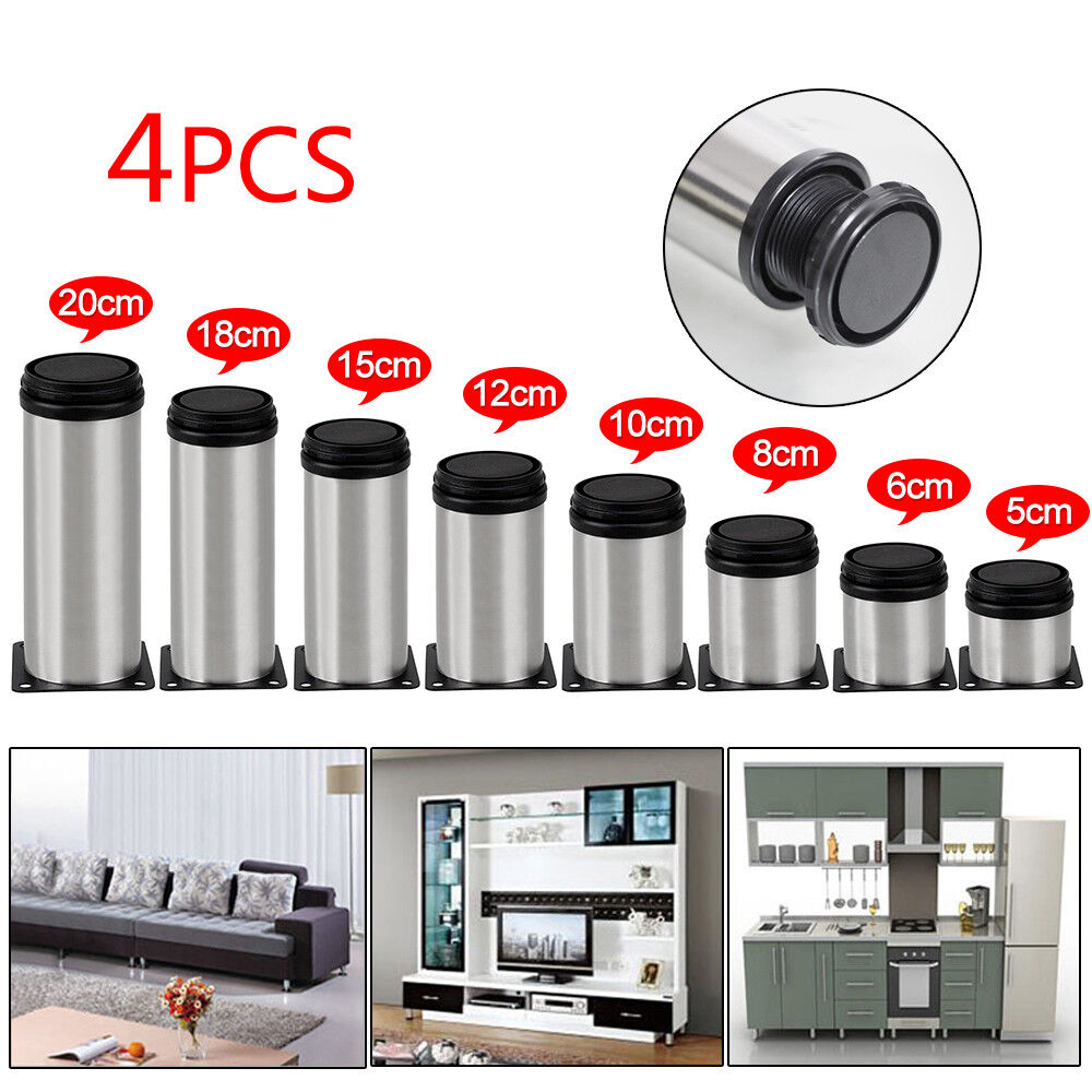 Adjustable Kitchen Cabinet Legs: 4 Pcs Stainless Steel Leg Round Metal Feet Adjustable