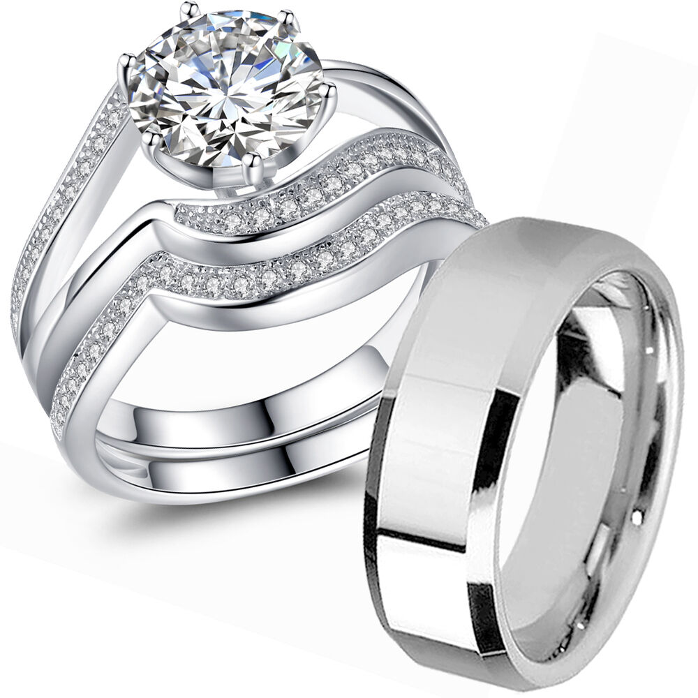 Couple Wedding Ring Sets His and Hers 925 Sterling Silver ...