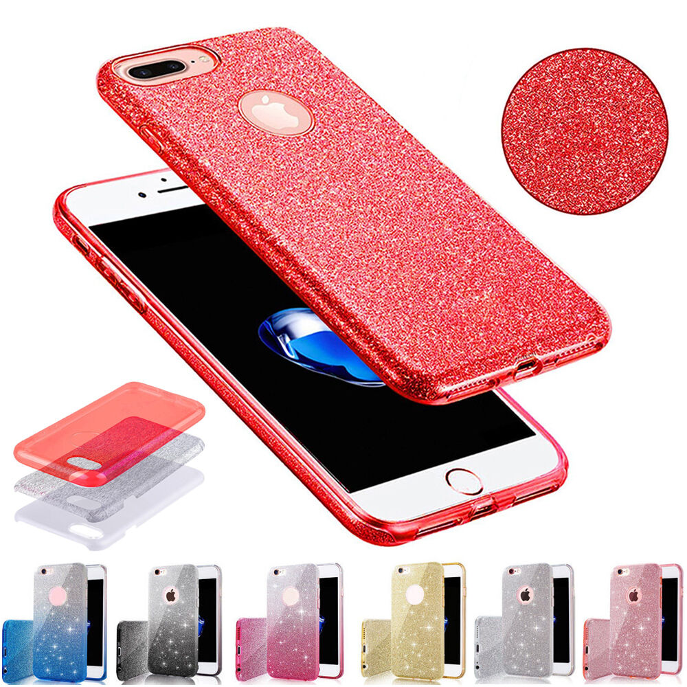 Details about Crystal Sparkle Glitter Rubber PC Shockproof Case Cover for iPhone  6s 7 Plus Cap 60814b53ba30