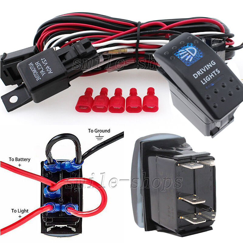 12v on off 5 pins blue driving light rocker switch. Black Bedroom Furniture Sets. Home Design Ideas
