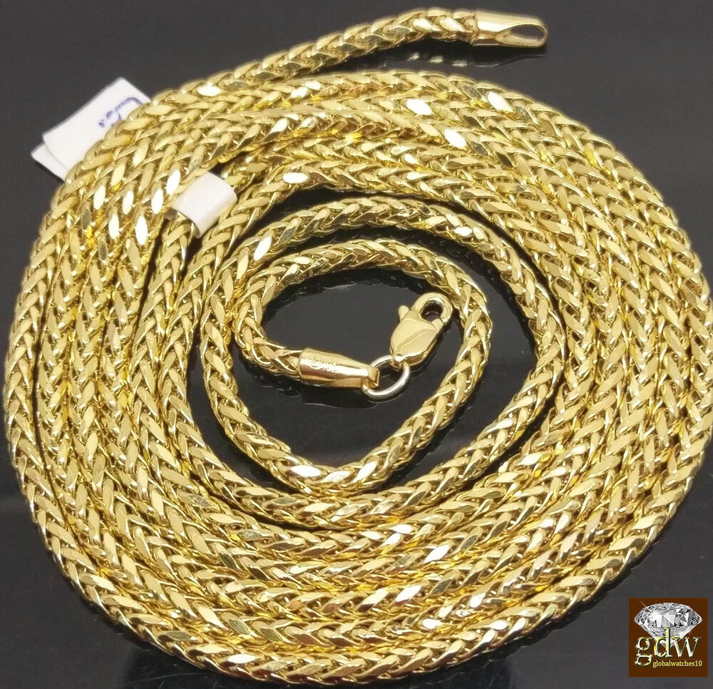 10k Yellow Gold 3 mm Palm Chain In Length Variations 24-40 Inches , Franco, Rope | eBay