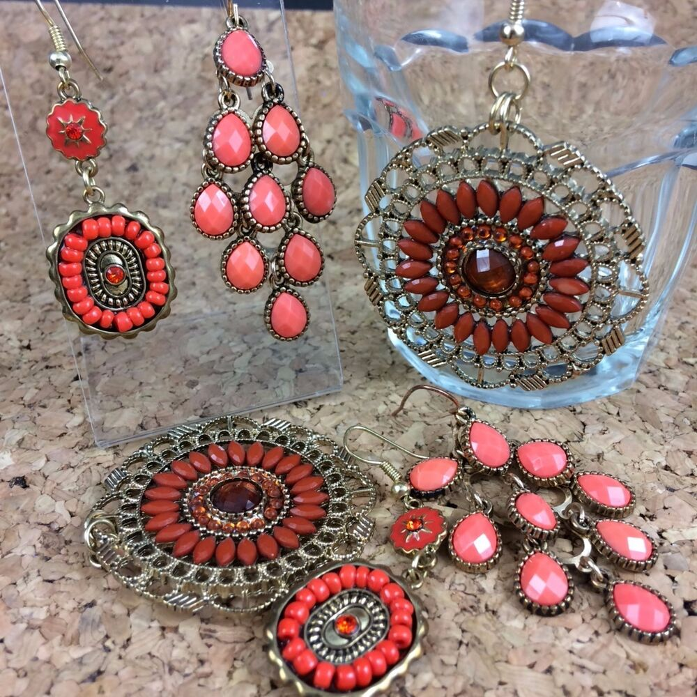 3 Pairs Coral Colored Pink Orange Dangle Earrings Gold