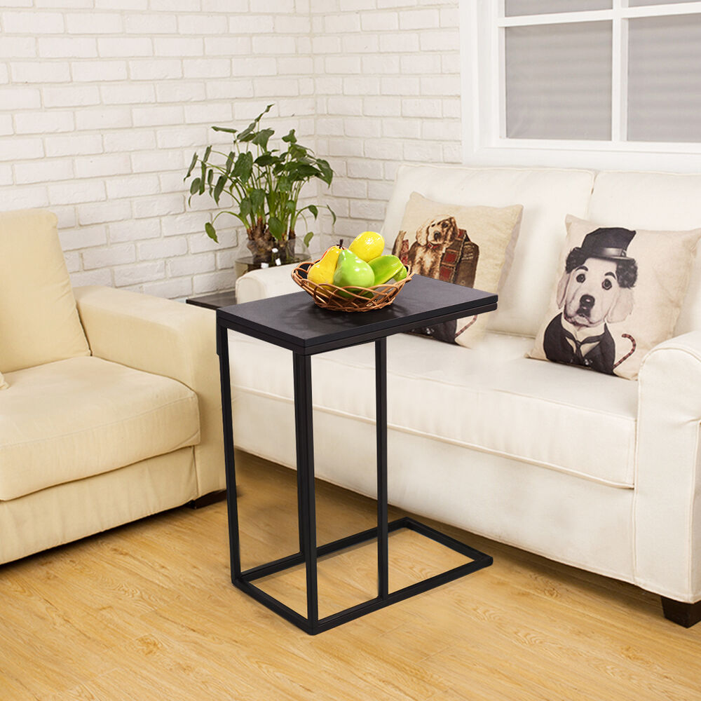 Black coffee tray sofa side end table ottoman couch console stand tv lap snack ebay Console coffee table