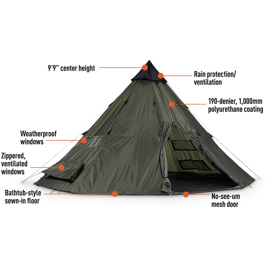 Outfitter Spike Tent 12 Person Teepee Basecamp Hunting