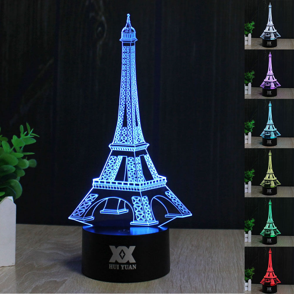 eiffelturm tour eiffel 3d led acryl tischlampe nacht lamp. Black Bedroom Furniture Sets. Home Design Ideas