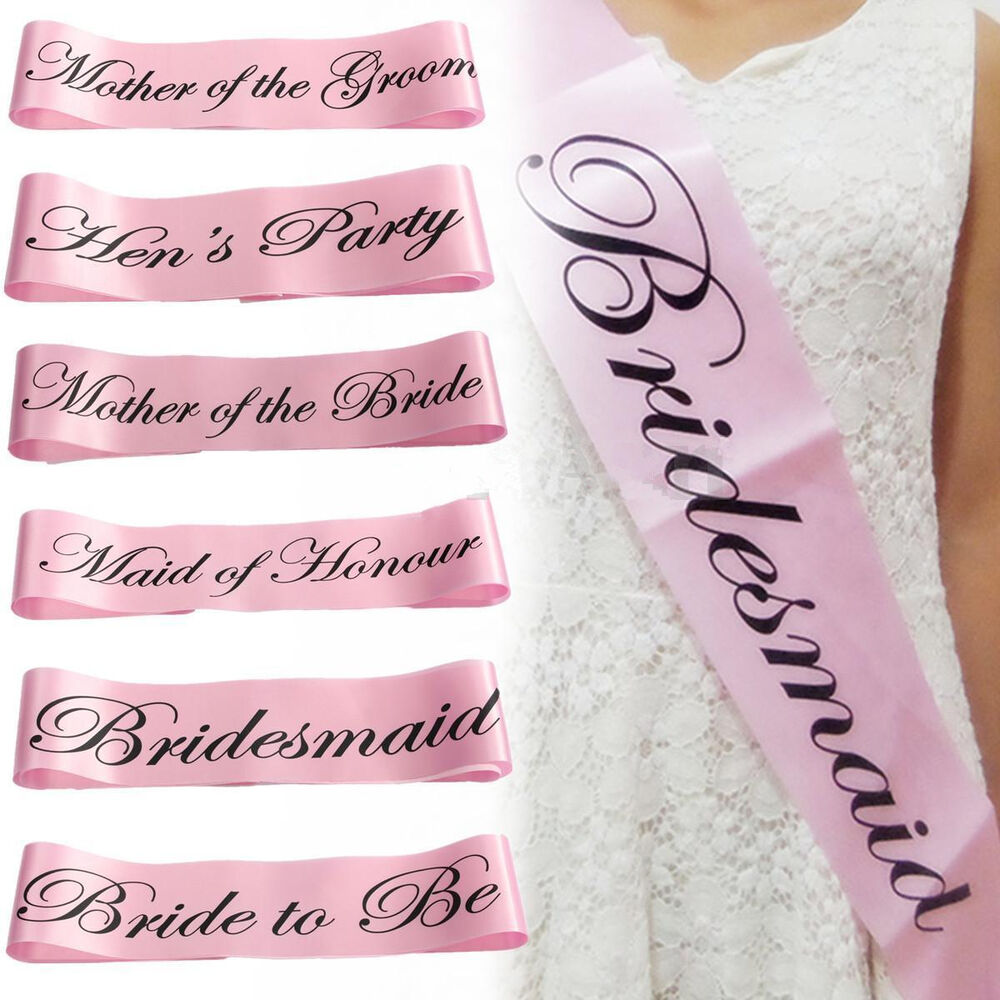hen s party sashes girls night out accessory wedding light pink sash collections ebay. Black Bedroom Furniture Sets. Home Design Ideas