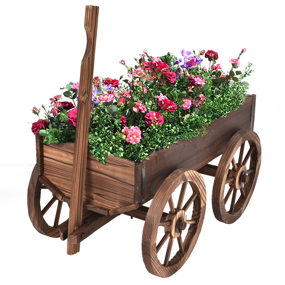 Wood wagon flower planter pot stand rack holder w wheels for Wooden garden decorations