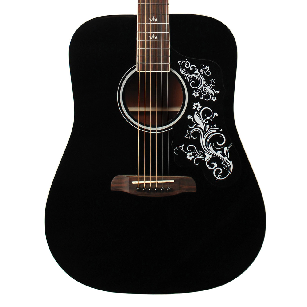 sawtooth black acoustic dreadnought guitar with custom pickguard white graphic ebay. Black Bedroom Furniture Sets. Home Design Ideas