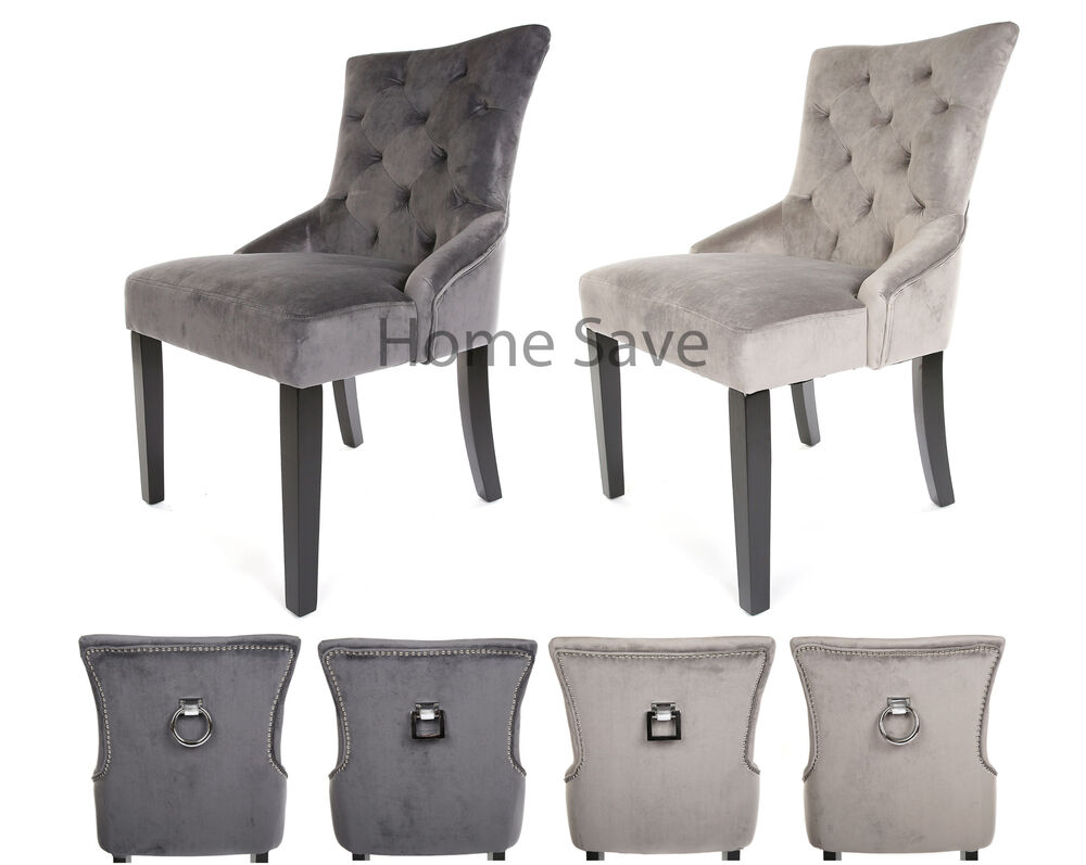 X 2 New Velvet Scoop Back Dining Chair Pair Light Or Deep Grey Stud And Knocker