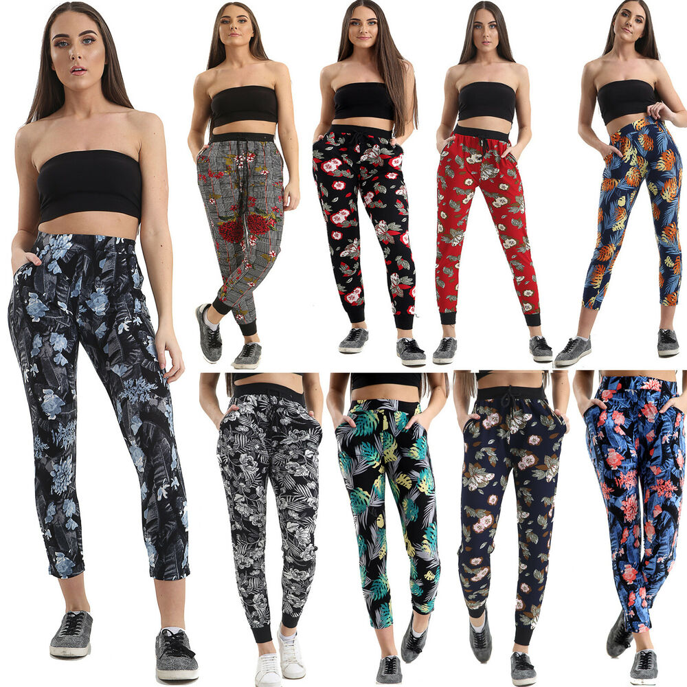 WOMENS LADIES FLORAL PRINT ELASTICATED PLAZZO TROUSERS ...