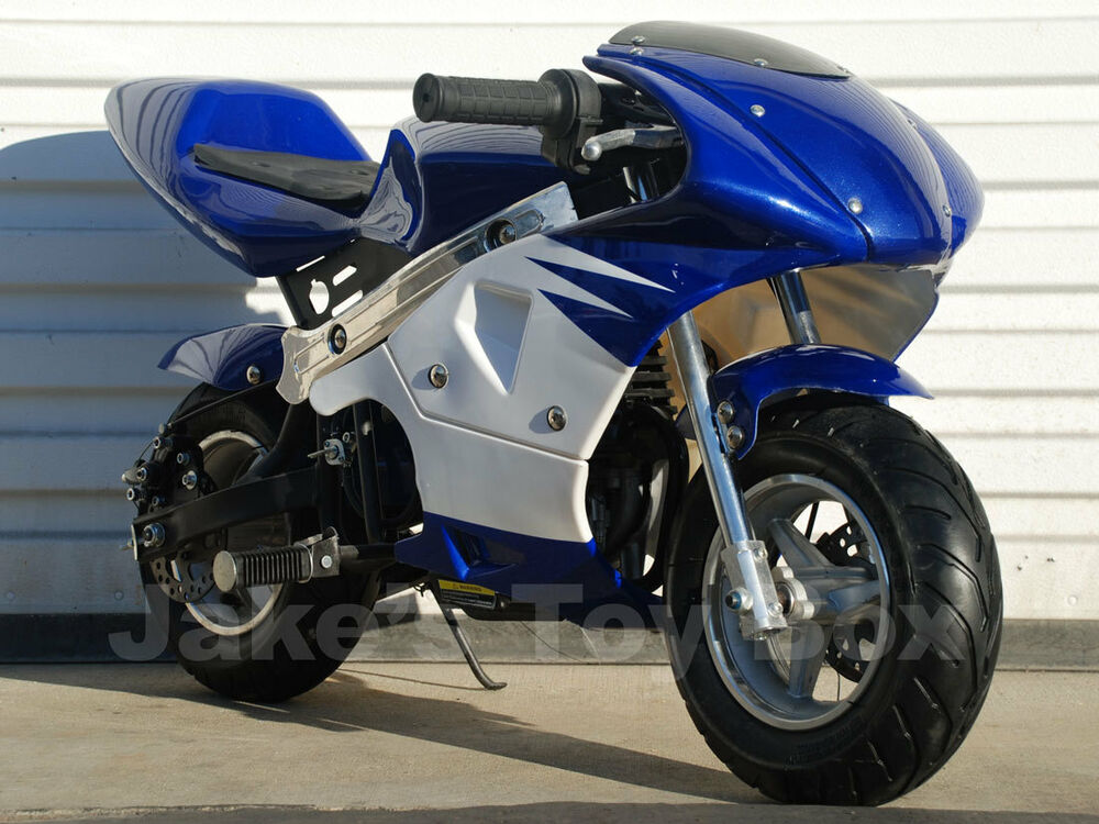 gas powered kids mini pocket rocket 40cc pocket bike blue ebay. Black Bedroom Furniture Sets. Home Design Ideas