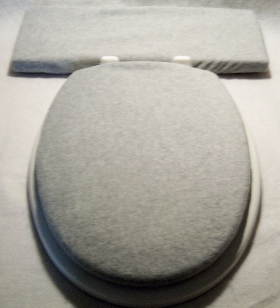 Solid Light Gray Fleece Elongated Toilet Seat Lid And Tank