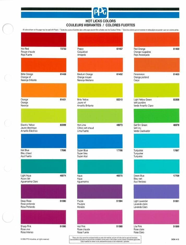 PPG DOX413 Hot Licks Color Chip Book Card   eBay