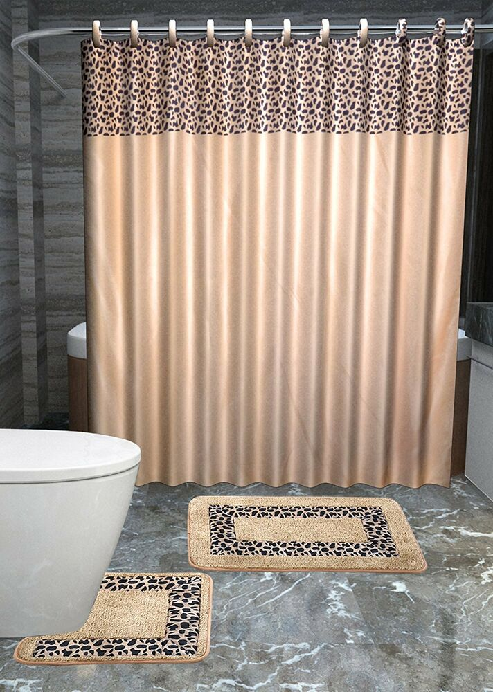 leopard 15 piece bathroom accessories set rugs shower curtain bath beige brown ebay. Black Bedroom Furniture Sets. Home Design Ideas