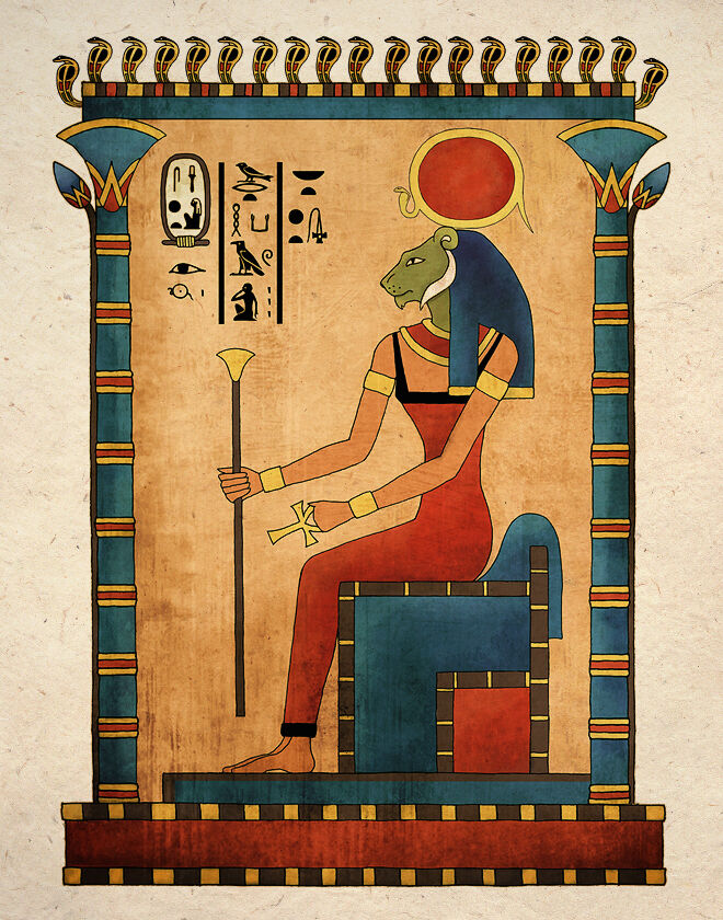 Ancient egyptian art print goddess sekhmet wall decor ebay for Ancient egypt decoration