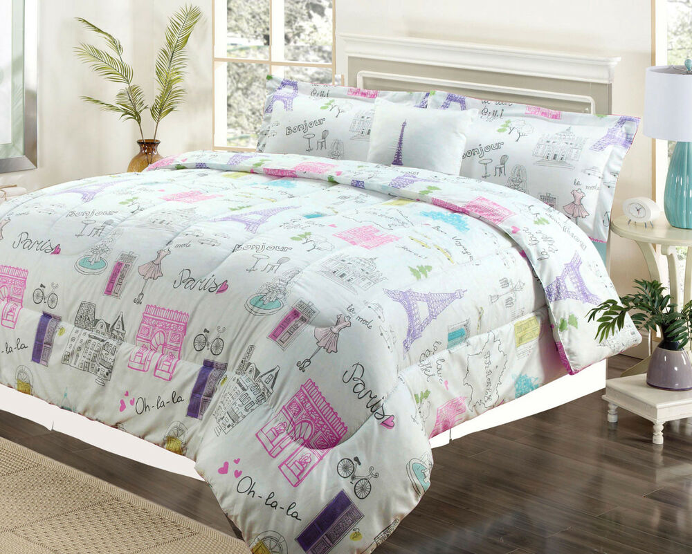 Twin Or Full Bedding Girls Comforter Bed Set Paris Eiffel