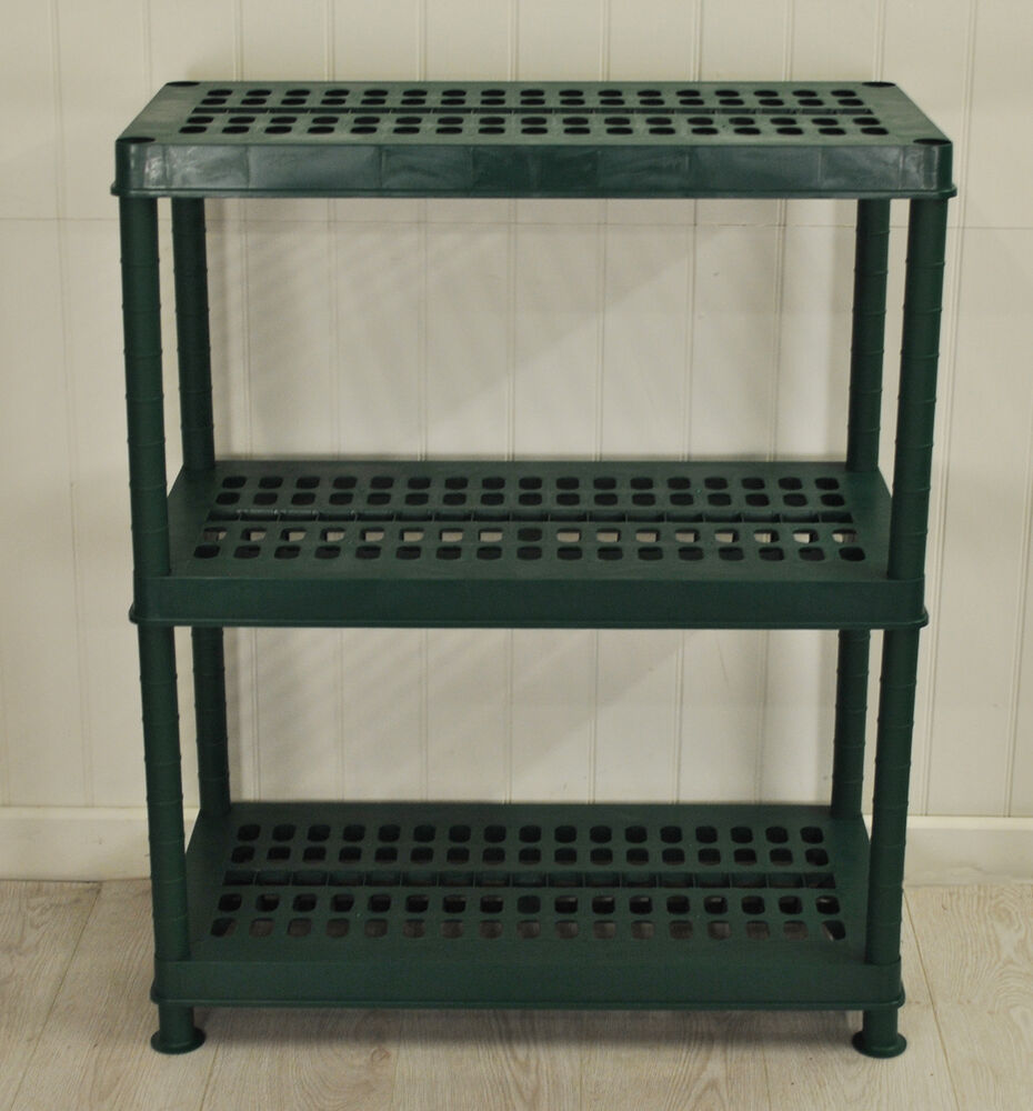 3 tier plastic ventilated greenhouse shelving in green by for Inexpensive greenhouse shelving wood