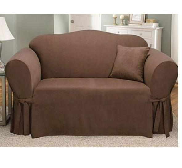 Sure Fit Soft Suede Sofa Slipcover Chocolate/Brown Box
