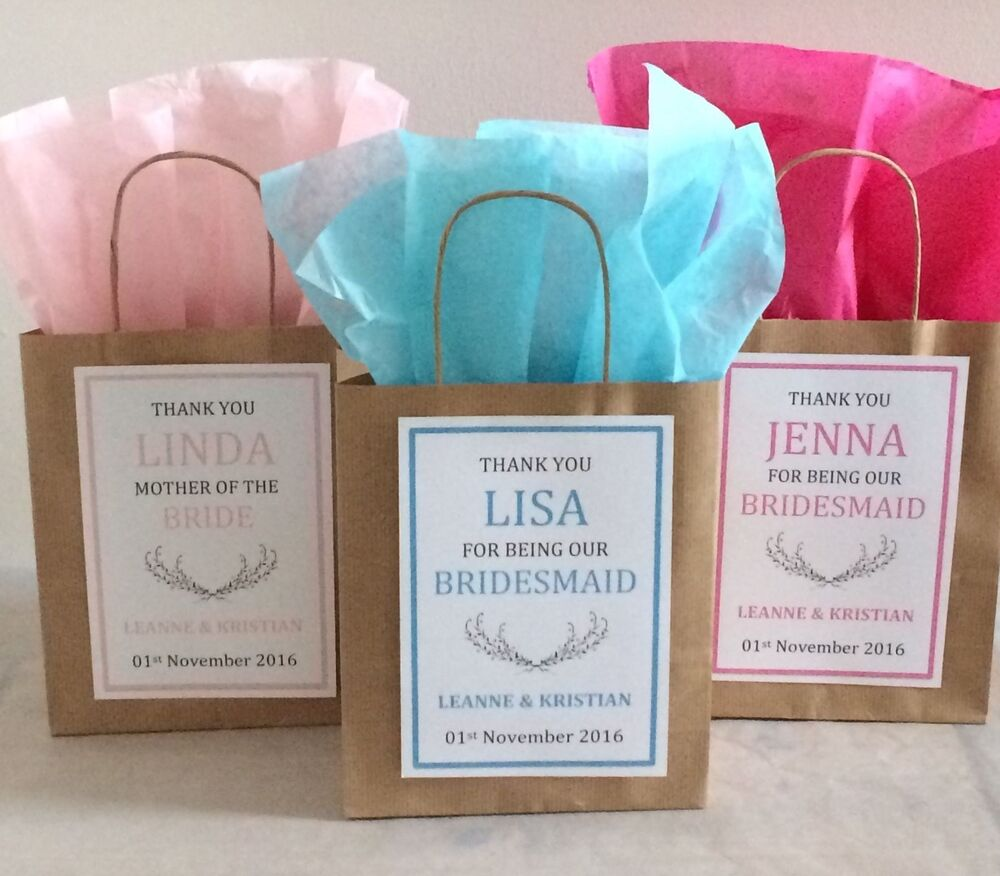 Wedding Gift Paper: Personalised Vintage Brown Paper Favour Bags/Gift/Wedding