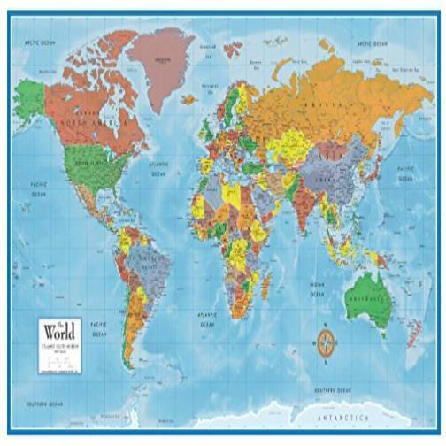 World Map Classic Huge Large Laminated Wall Map 24X36 Poster Home ...