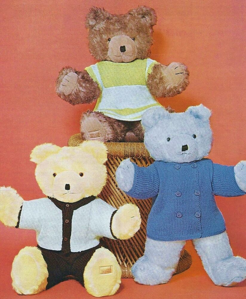 """VINTAGE KNITTING PATTERN 20 22 24"""" TEDDY BEAR CLOTHES TO ..."""