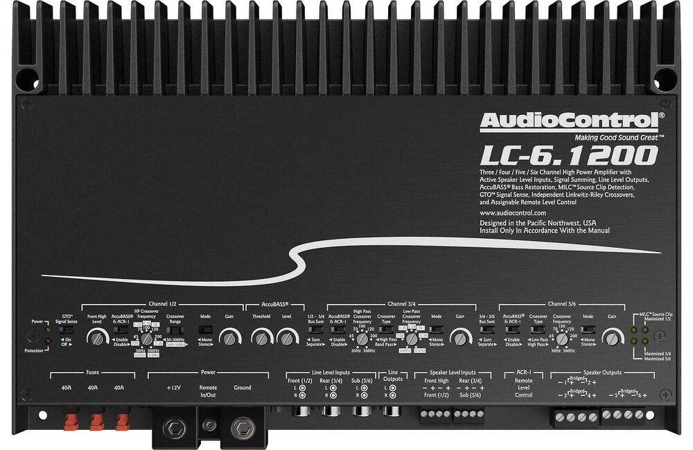 audiocontrol lc 1200w 6 channel amplifier with channel summing 3 4 5 6 ch 851523007201 ebay. Black Bedroom Furniture Sets. Home Design Ideas