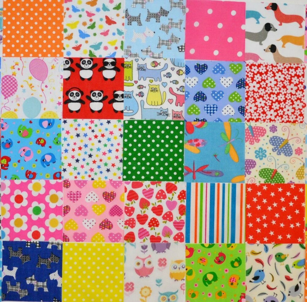 Poly cotton fabric novelty childrens patchwork squares for Novelty children s fabric