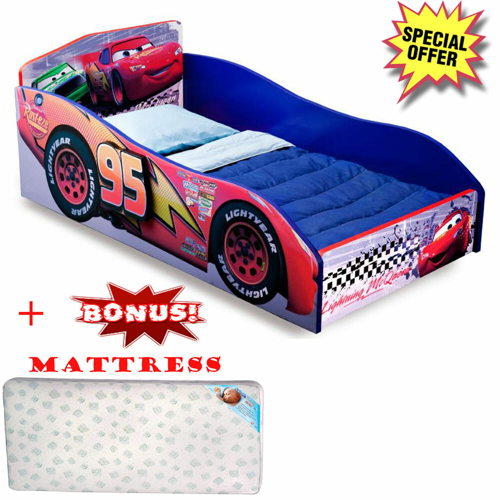 Toddler bed wooden furniture with mattress disney cars