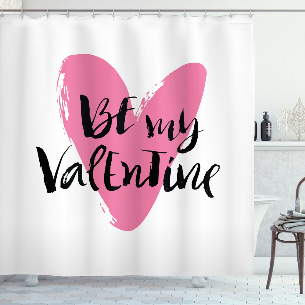 Details About Valentines Day Shower Curtain Heart Love Image Print For Bathroom 84 Extralong