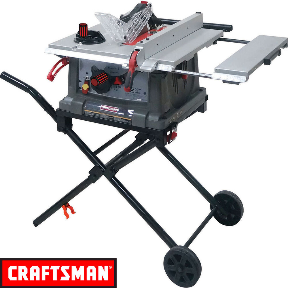 craftsman 10 portable table saw space saving fold roll. Black Bedroom Furniture Sets. Home Design Ideas