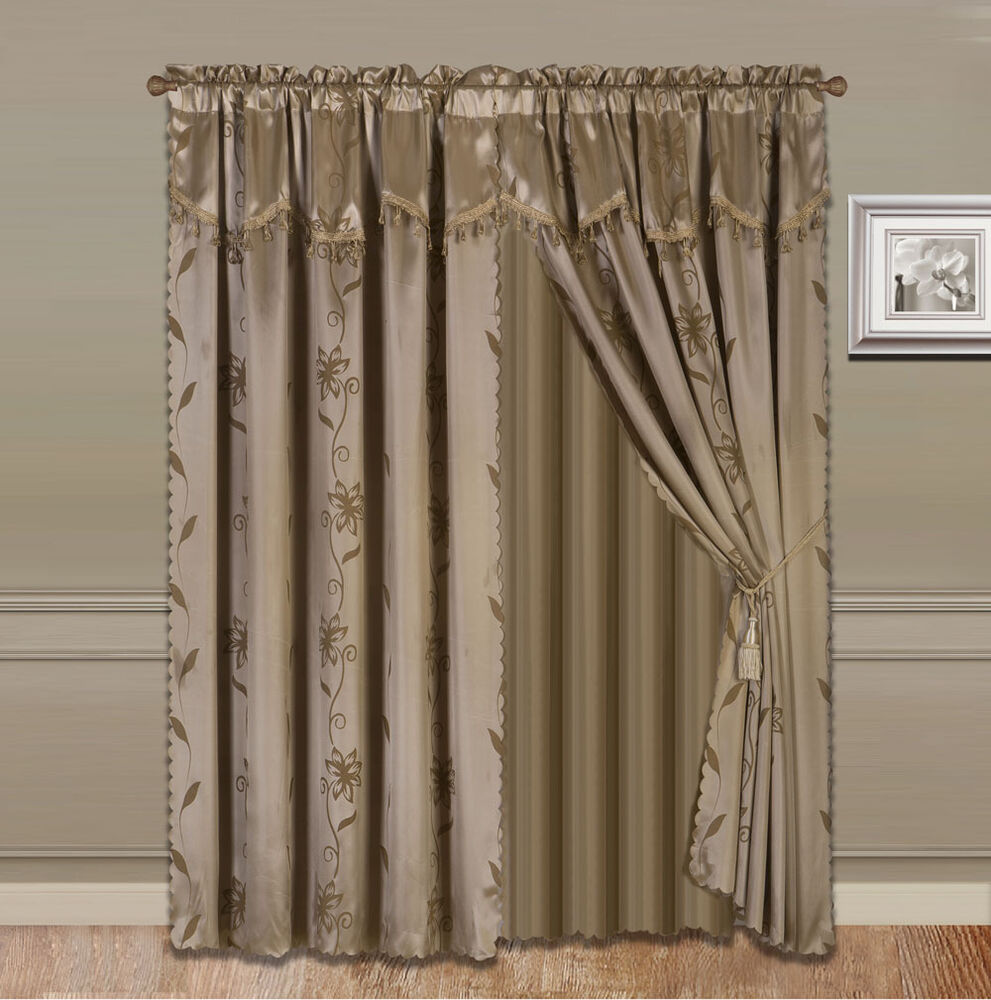 8Piece TAUPE Nada Luxury Faux Jacquard Floral Panel Window Curtain DRAPE SET eBay