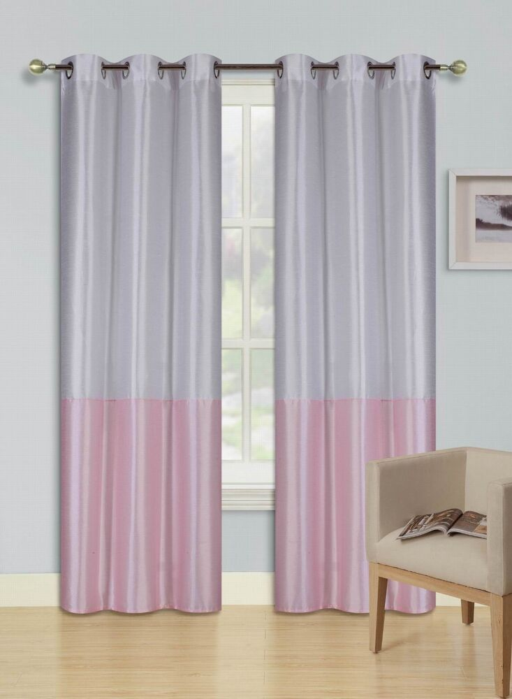 Eid White Light Pink Insulated Lined Blackout Grommet Window Curtain Panel Pair Ebay