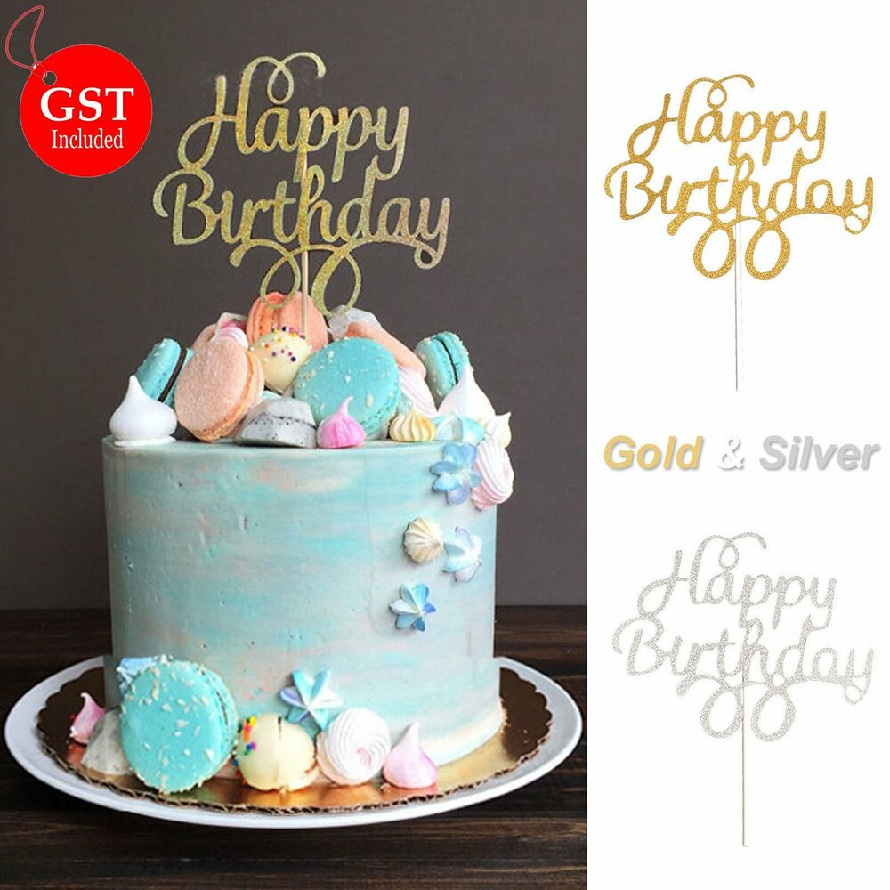 1x cake topper happy birthday gold silver glitter party for Anniversary cake decoration