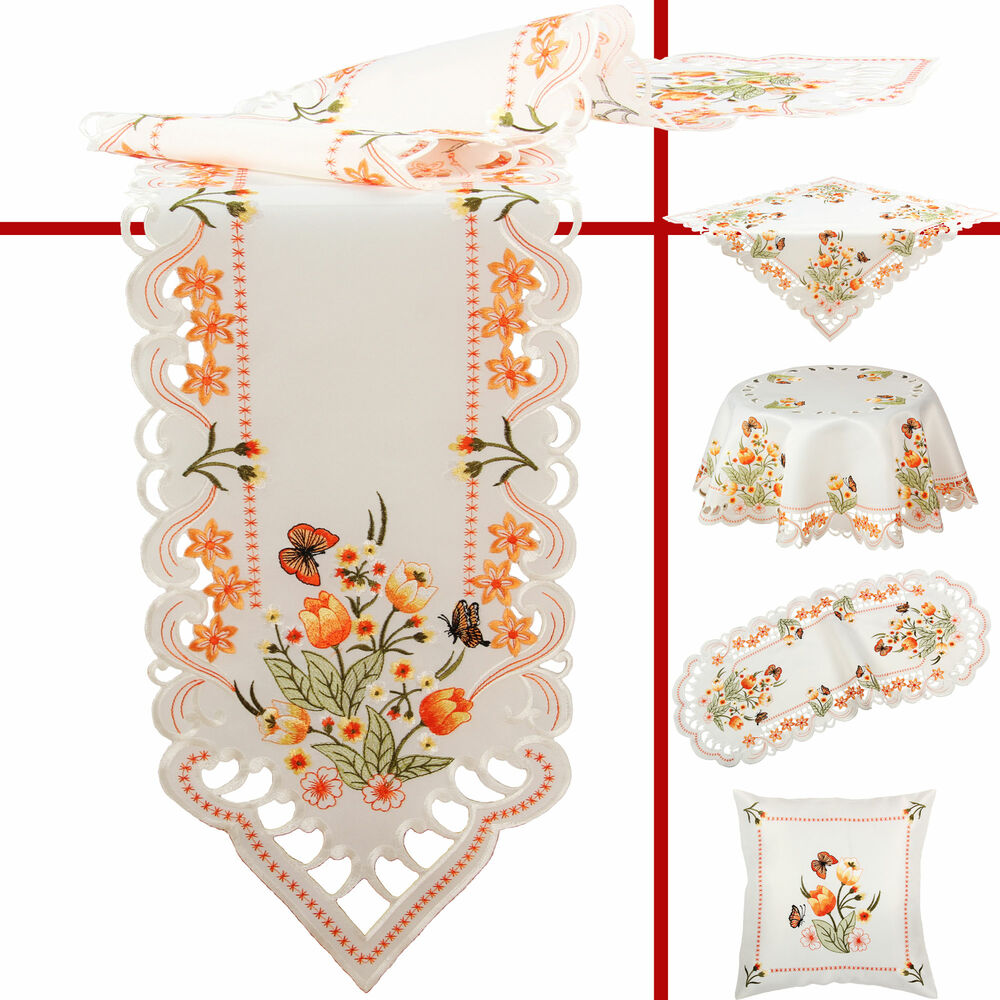 Orange Tulip Butterfly Embroidery Table Runner Tablecloth