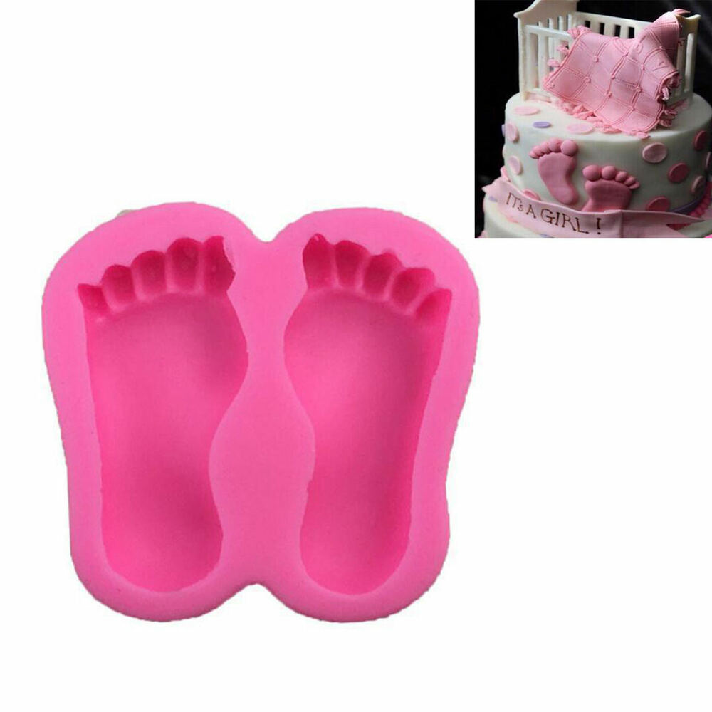 3D Baby Shower Feet Silicone Fondant Mould Cake Decor ...