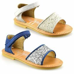 Girls Kids Infants Low Heel Touch Strap Summer Party Glitter Sandals Shoes Size