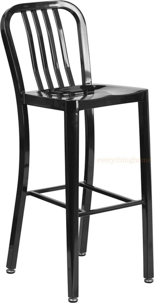 Mid Century Black Navy Style Bar Stool Cafe Chair In