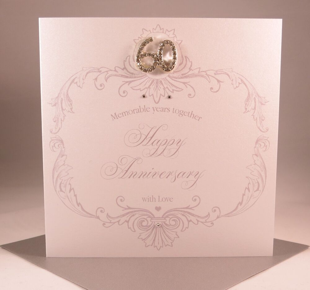 Luxury Handmade DIAMOND (60th) Wedding Anniversary Card - Wife ...