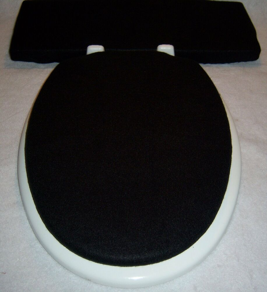 Solid BLACK Fleece Elongated Toilet Seat Lid And Tank Lid Cover Set 14