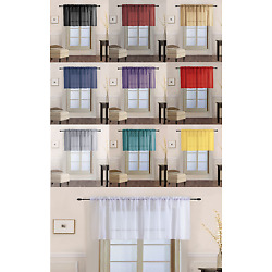 1 Voile Straight Sheer Window Swag Topper Waterfall Valance Rod Pocket V16