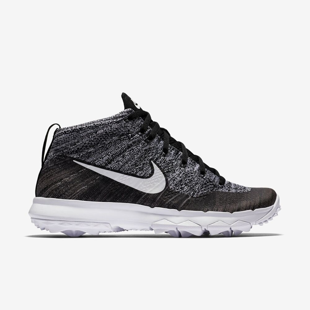 bd7f5405581 Details about Nike Womens Flyknit Chukka Golf Shoes- Black   White -New In  Box