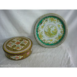 Vintage DAHER TIN PLATE TRAY ENGLAND BOX COOKIE BISCUIT TEA FLORAL SERVING