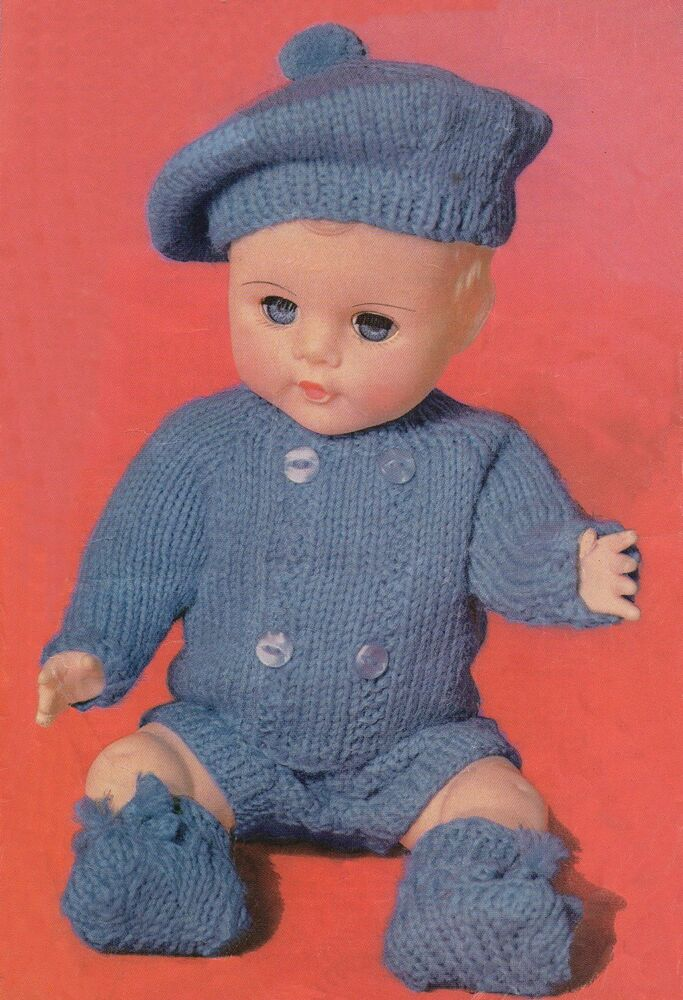 vintage knitting pattern baby boy dolls clothes 12 quot 14 quot 16