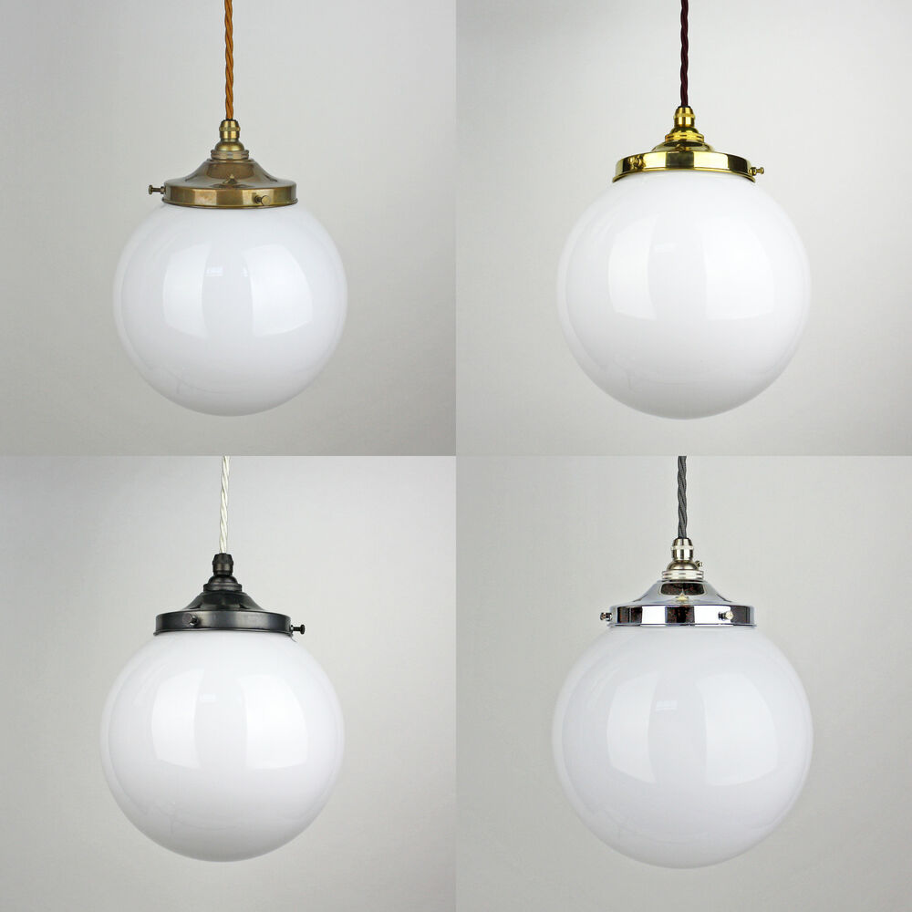 glass opal globe pendant light vintage period style brass bronze silver ebay. Black Bedroom Furniture Sets. Home Design Ideas