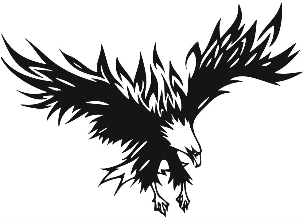nr72 flying fire flame eagle head decal vinyl sticker