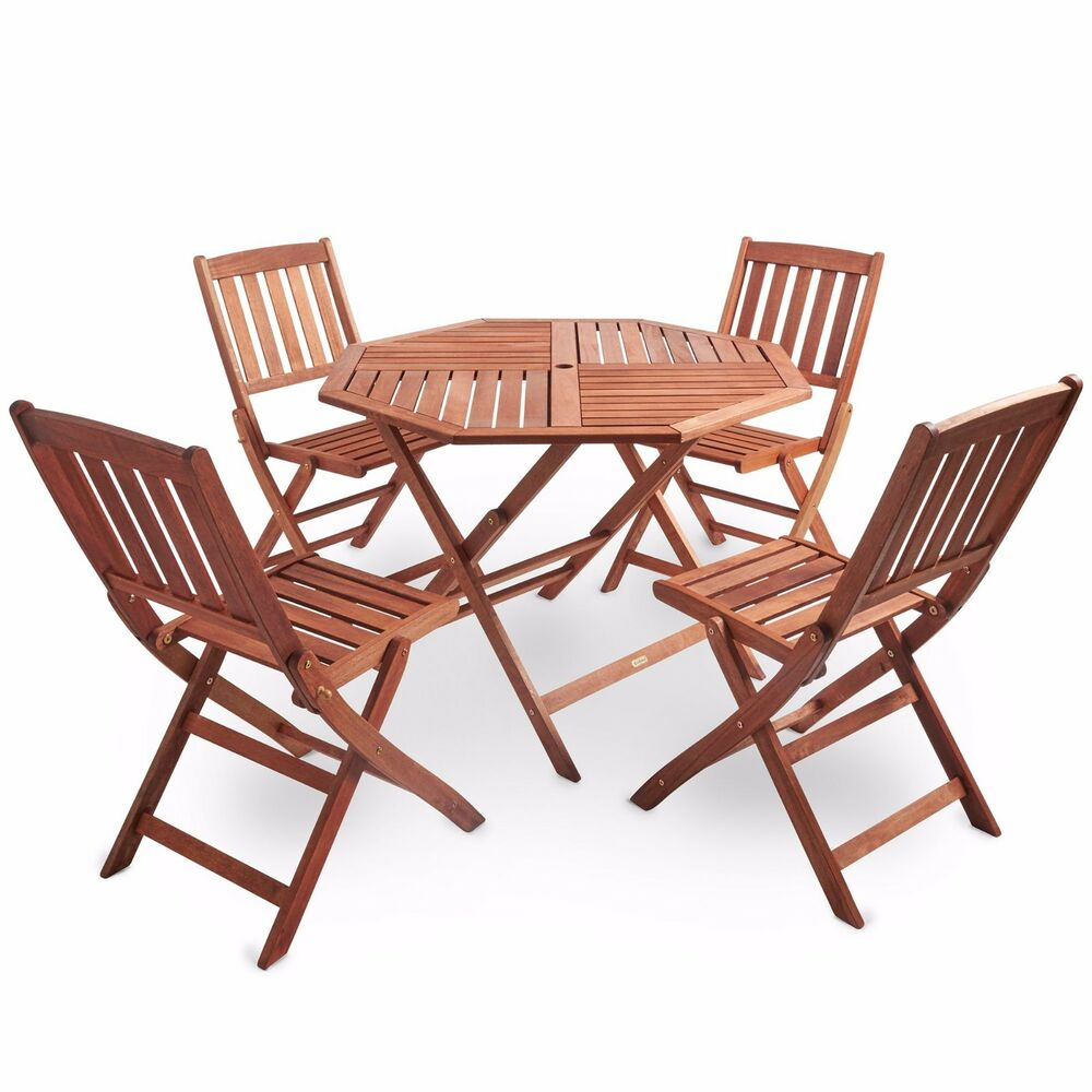 Vonhaus outdoor garden dining set hardwood folding for Small patio table and 4 chairs