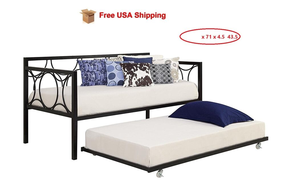 Trundle Guest Kids Bed Black Metal Frame Twin Size