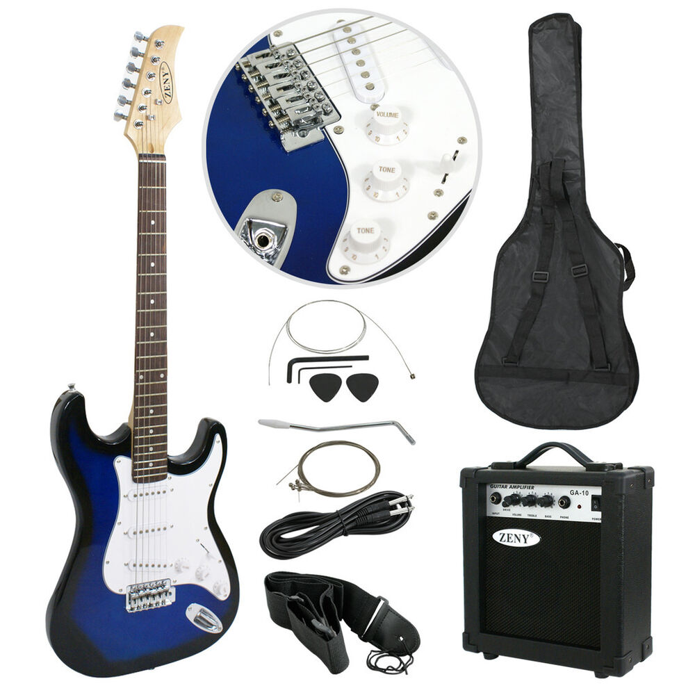 blue full size electric guitar with amp case amp gig bag case picks beginner 700161267709 ebay. Black Bedroom Furniture Sets. Home Design Ideas