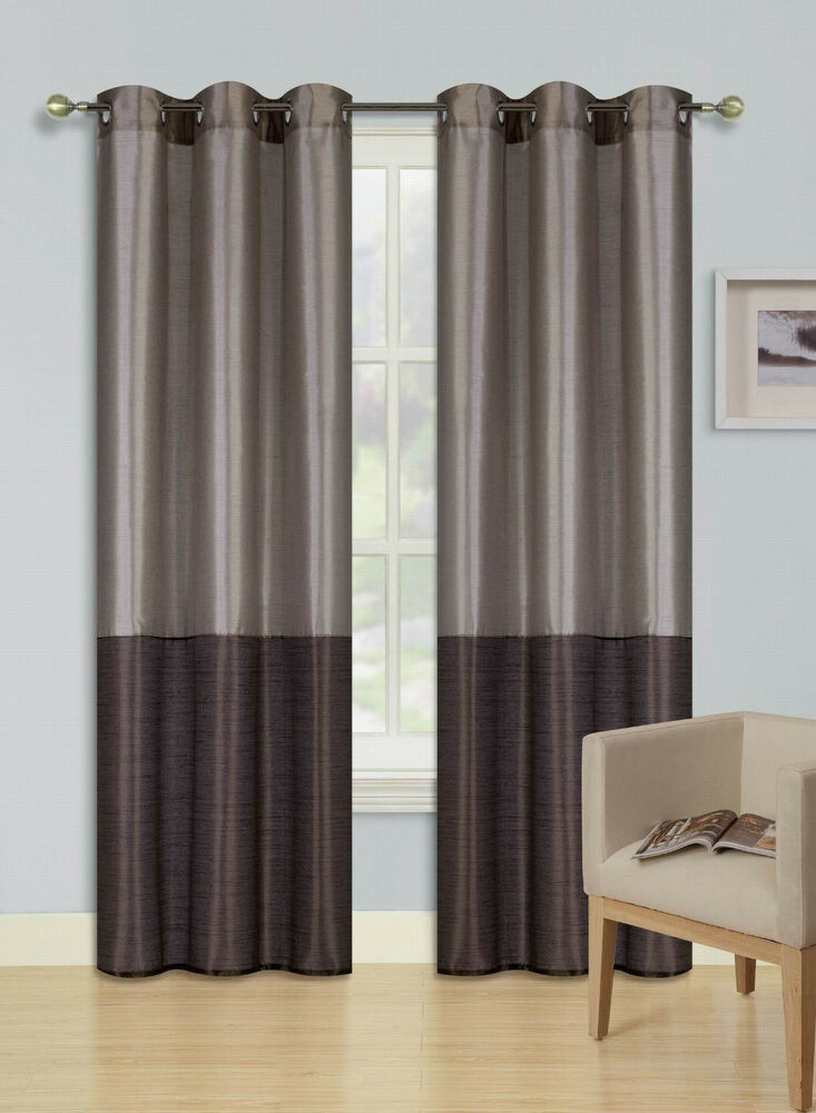 Taupe Brown Set 2 Tone Grommet Window Curtain Eclipse