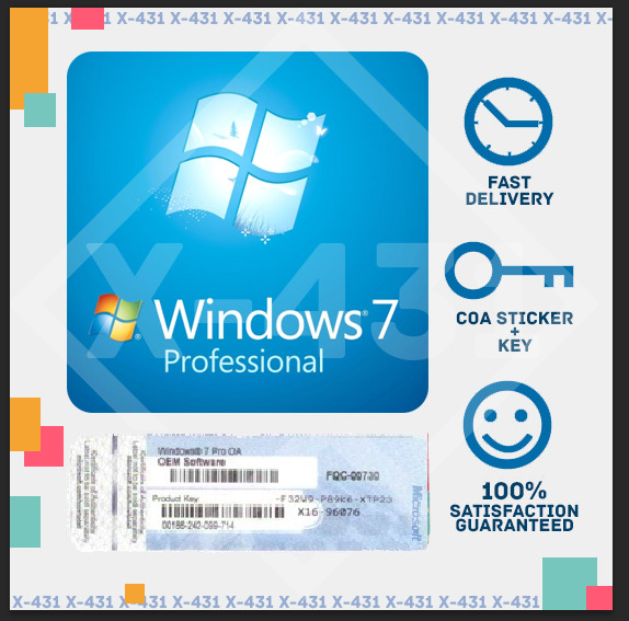 windows 7 pro professional 32 64 bit oem product key coa. Black Bedroom Furniture Sets. Home Design Ideas